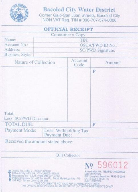 Official Receipt   Bacolod City Water District